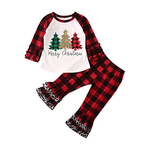Hailouhai Kerst Peuter Baby Leuke Meisjes Kerst Kleding Lange Mouw Kerstmis Boom Shirt Topjes + Plaid Lange Leggings 2 Stks Kerst Outfits Set