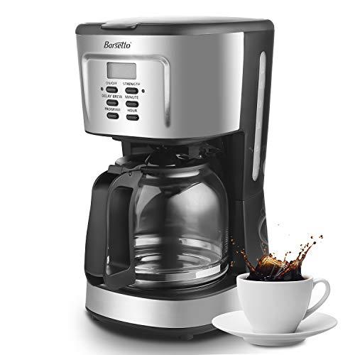 Barsetto Kaffeemaschine 10 Tassen Filterkaffeemaschine Filtermaschine mit Zeitschaltuhr Timer-Funktion Warmhalteplatte Glaskanne und Abschaltautomatik, Schwarz/Edelstahl