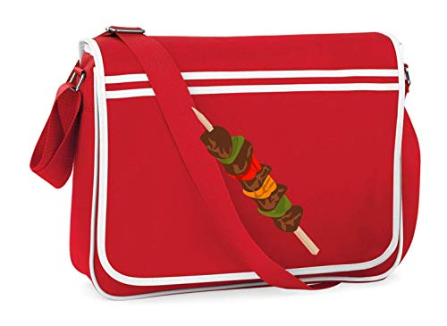 Druckerlebnis24 Schultertasche - BBQ Lager Camping Zelten - Umhängetasche, geeignet für Schule Uni Laptop Arbeit