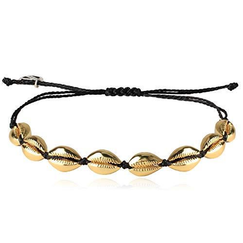 KELITCH Gold Conch Shell Beads Bracelet Handmade Bohemia Cowry Charm Beach Weaving Anklet Fashion Jewelry for Girls(Night