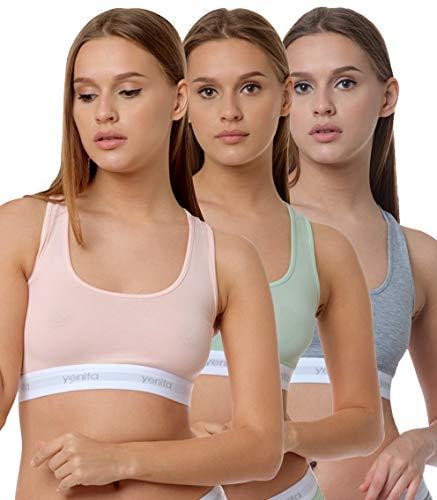 Yenita 3er Set Damen Underwear Modern-Sports-Collection, Bralette, Cotton-Bustier, Gemischt (Pink, Mint, Grau) Gr. L