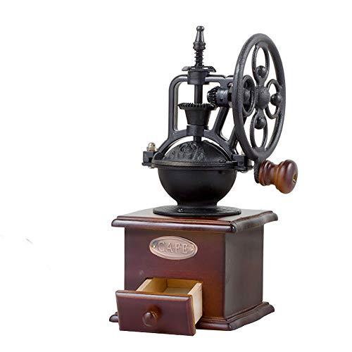 Tickos Retro Manuelle Kaffeemühle Klassische Handmühle Verstellbare Handkaffeemühle mit Massivholzbasis und Keramikschleifkern (Braun+Schwarz)