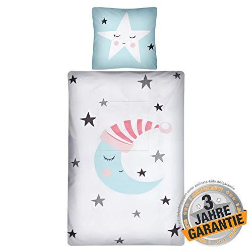 Aminata Kids Premium Wende-Bettwäsche-Set Sonne, Mond & Sterne 135 x 200 cm, 80 x 80 cm, Baumwolle, Reißverschluss, Schlaf-Mond-Motiv, Sterne, Jugendliche - Kinder Bettwäsche, weiß, Mint-blau