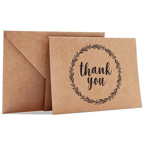 Best Paper Greetings - Tarjetas de agradecimiento con sobres (120 unidades), diseño rústico