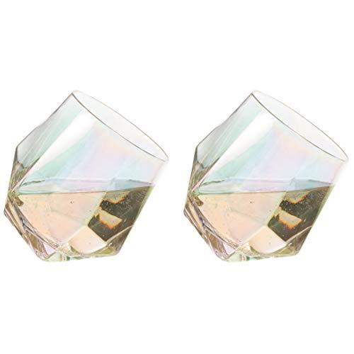 CKB Ltd - Juego de 2 vasos de diamante para whisky, diseño de arcoíris