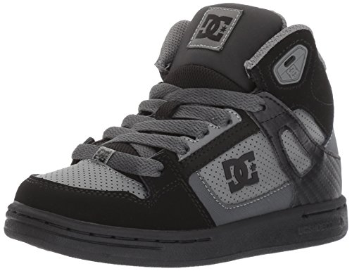 DC Shoes Youth Rebound Skate Black/Grey, 5 M US Big Kid