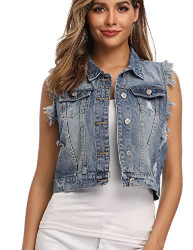Dilgul Jeansweste Damen Knopf Umlegekragen Zerrissene Ärmelloses Jeansjacke mit Taschen Hellblau Large