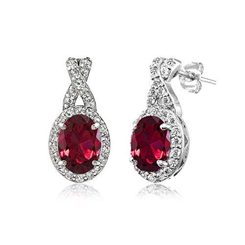 Sterling Silver Synthetic Ruby & White Topaz Oval and X Drop Earrings
