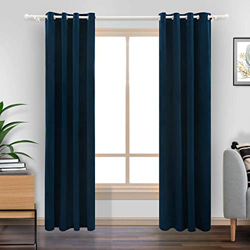 "LiilisPoetic Home Navy Blue Velvet Curtains 96 inches for Living Room, 2 Panels Grommet Curtains Thermal Insulated Velvet Drapes for Bedroom (52"" W x 96"" L, Navy Blue)"