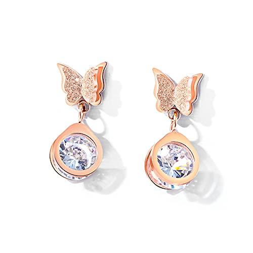 RSHJD Joyería de Acero de Titanio de Mariposa Pendientes de joyería súper Hadas con circón para Mujer niña,Oro