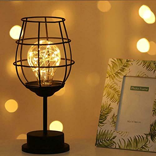 Lámpara de mesa de alambre de metal negro, estilo jaula de hierro de diamante, luz nocturna, lámpara de mesita de noche, soporte de escritorio, funciona con pilas para dormitorio (copa de vino tinto)