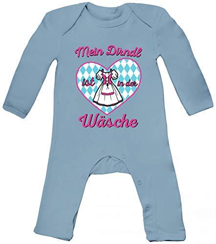 ShirtStreet Gaudi Wiesn Baby Strampler Langarm Schlafanzug Jungen Mädchen Oktoberfest - Mein Dirndl ist in der Wäsche 2, Größe: 3-6 Monate,Dusty Blue