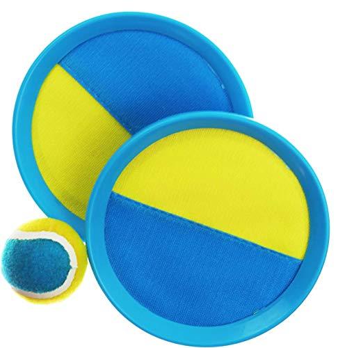 L + H WORLD Klettballspiel 19 cm in Premium Qualität   Fangballspiel Klett-Ballspiel für Kinder & Erwachsene   Hochwertiges Fangball-Spiel ideal als Spielzeug & Beschäftigung für Draussen im Garten