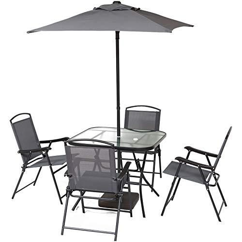 Outsunny Gartenmöbel Set mit Sonnenschirm, Siebenteilige Sitzgruppe, Sitzgarnitur, 1 Tisch + 4 Stühle, Metall, Grau, 55 x 62 x 86 cm (Stuhl), 88 x 88 x 71 cm (Tisch)