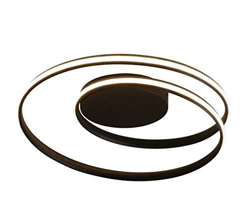 Lámpara de techo LED en espiral,redonda,anillo de techo,regulable con mando a distancia,moderna,para salón,dormitorio,lámpara para cocina o techo,aluminio,Negro,LED 50.00W 230.00V