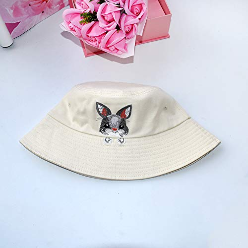 wopiaol Fisherman hat female spring and summer small fresh Korean version of the tide wild embroidery rabbit hat sun protection net red basin hat