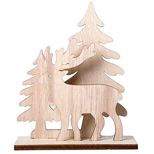 Super1798 - Adorno de Madera para Mesa de Navidad, diseño de Papá Noel con muñeco de Nieve