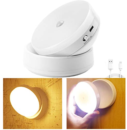 USB Rechargeable 360 Degree Rotation LED Night Light,Motion Sensor Light with Magnetic Base,Under-Counter Light Stick Anywhere,Warm White 1 Pack