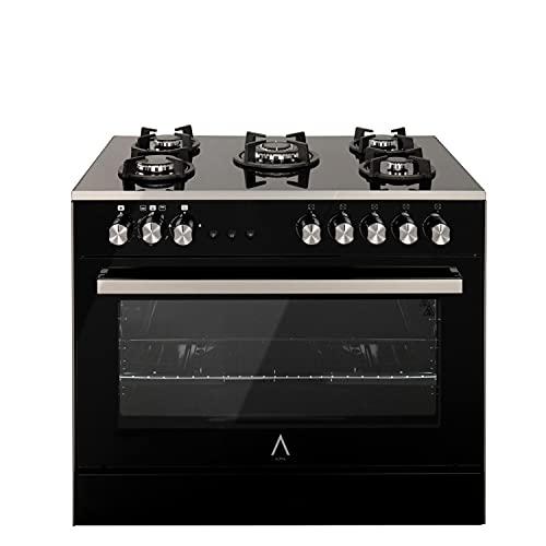 ALPHA Cocina de Gas VULCANO ELITE-90 Cristal Negro. Encendido automático y temporizador en horno. **Alta Gama**