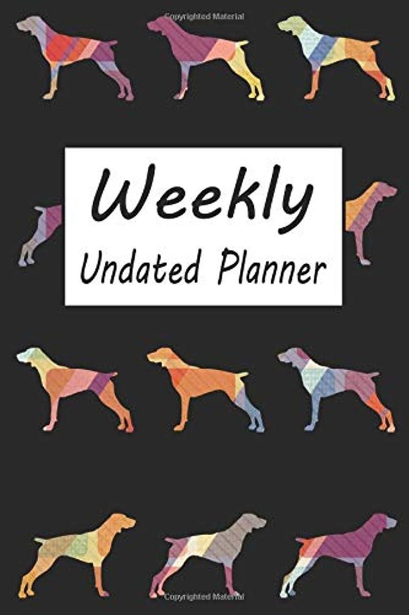 バズ無知第三Weekly Undated Planner: Black 52 Weeks Planner With Pointer Dog Pattern And Gratitude Journal Section (Agenda, Organizer, Notes, Goals & To Do Lists)