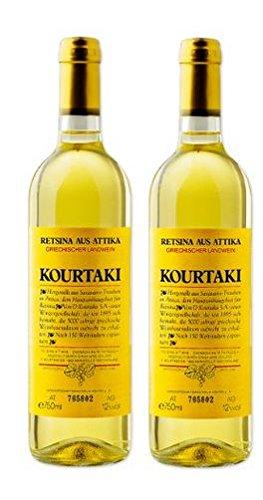 2x 750 ml Retsina Kourtaki 12% gehartzter Weißwein Weiß Wein aus Griechenland Attika Savatiano