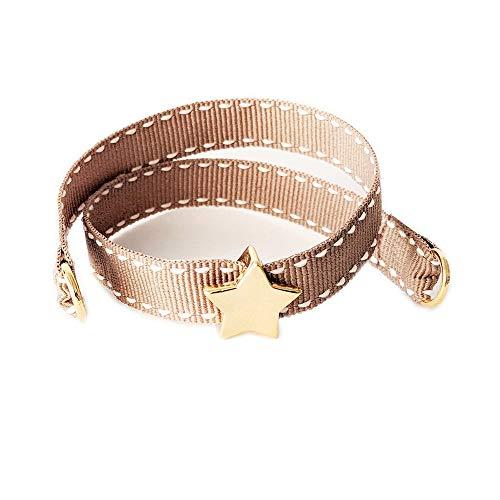 Nora Pfeiffer - Bracciale da annodare in tessuto con ciondolo a forma di stella in ottone placcato oro senza nichel e Ottone, colore: beige., cod. 0