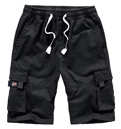 Fuwenni Women's Cargo Shorts with Pockets Cotton Elastic Waist Plus Size Bermuda Shorts Black US 16
