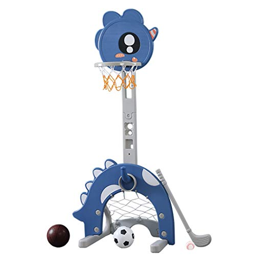 Toy Basketball Hoop Set, 4 in 1 Children Basketball Stand Adjustable Sports Activity Center with Basketball Soccer Goal Ring Toss Golf Set, Best Birthday Gift for Baby Toddler Boys Girls (Multicolour)
