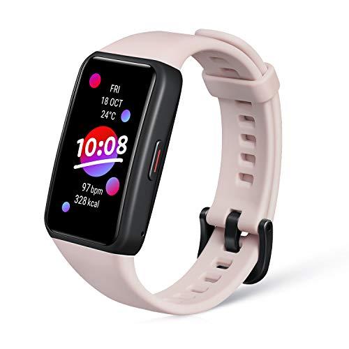 HONOR Band 6 Orologio-Smartband Fitness Tracker, 1.47  AMOLED Display, SpO2 Monitor, Cardiofrequenzimetro Contapassi, Durata Della Batteria 14 Giorni, 10 modalità allenamento, Salute delle donne, Rosa