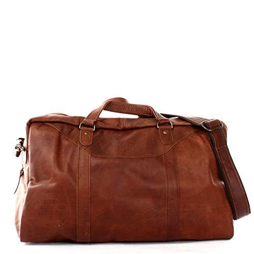 LECONI kleine Reisetasche Ledertasche Handgepäck Reise Weekender Fitnesstasche Damen und Herren Retro-Look Leder braun 45x25x20cm braun LE2009-wax