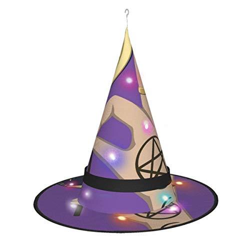 rouxf Ritual de Halloween Mano mágica con Luna Caramelo Decoraciones de Halloween Colgante al Aire Libre Iluminado Brillante Sombrero de Bruja Luces, para Ou