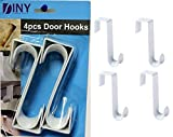 Over The Door Hooks Hangers, Laundry Hanger White Plastic 4 Pack Coats Towels Clothes