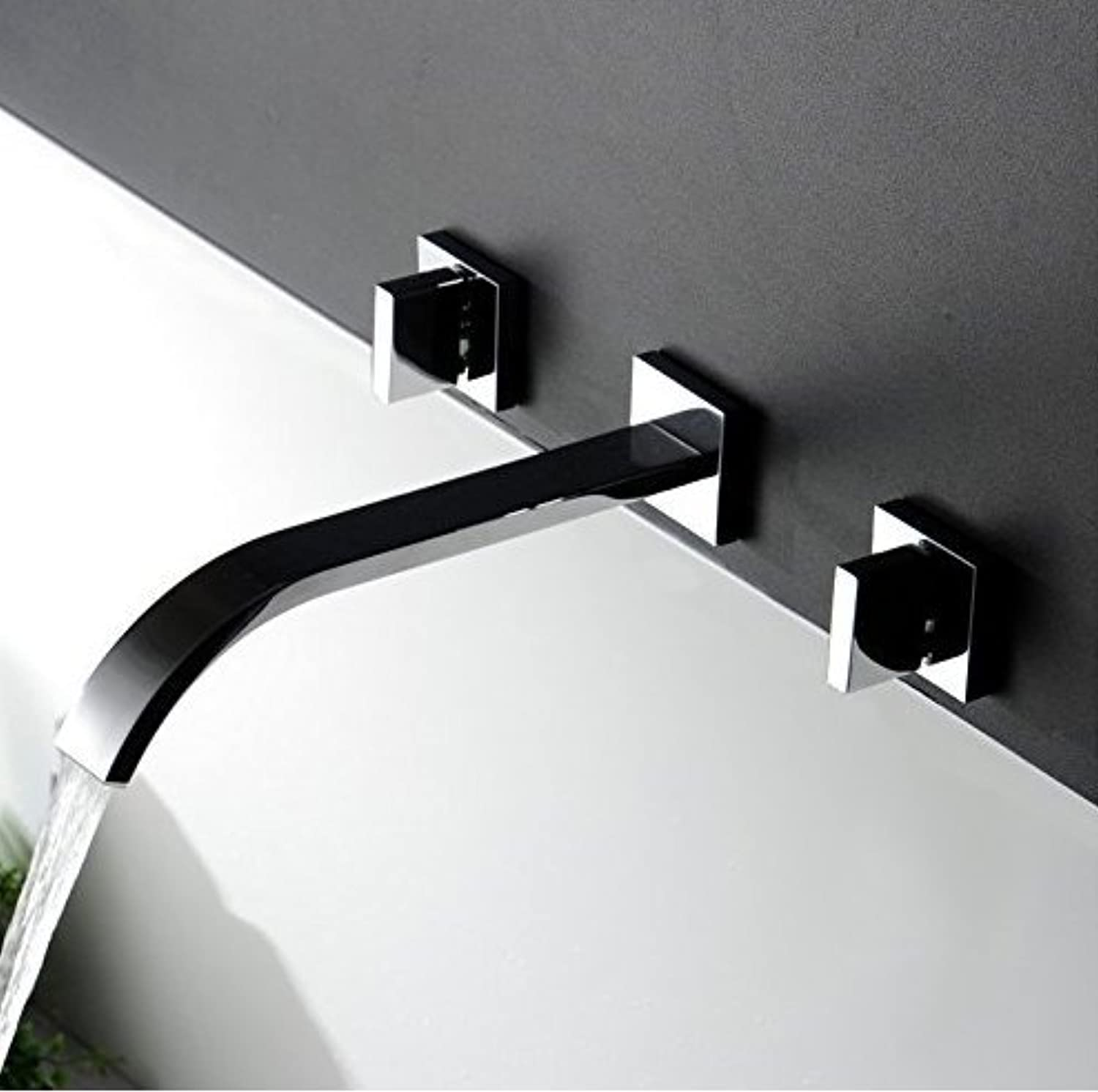 Waterfall Widespread Contemporary Bathroom Sink Sanitary Wall Mount Faucet Mixer Tap