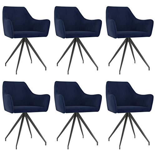 vidaXL 6X Sillas de Comedor Asiento Mobiliario Muebles de Salón Sala de Estar Cocina Escritorio Hogar Suave Cómodo con Respaldo Terciopelo Azul