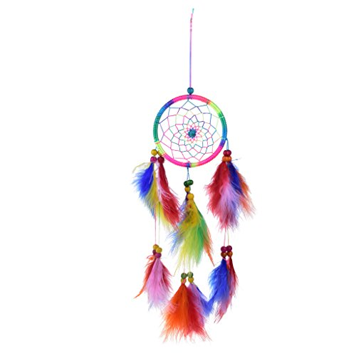 Dream Catcher Multicolore Fait Main Plumes Perles Attrape-rêve Ornement Murale Pendentif