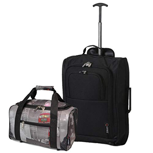Set of 2 Hand Luggage Set Including Ryanair Cabin Approved 55x40x20cm Trolley Bag & 40x20x25 Ryanair Maximum Holdall Under Seat Flight Bag (Black + Cities)