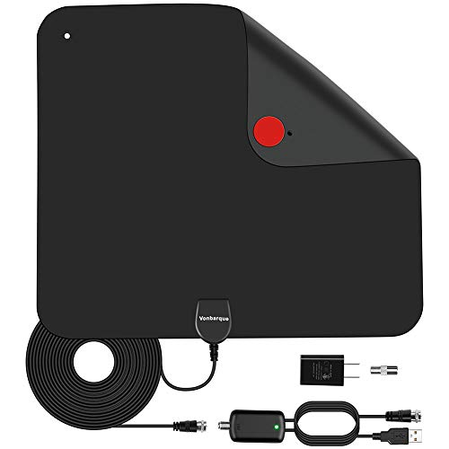 TV Antenna - 20ft Coax Cable,Vonbarque Amplified HD Digital Indoor HDTV Antenna 100 Mile Range with USB Power Adapter,Support 4K 1080P UHF VHF Freeview HDTV Channels