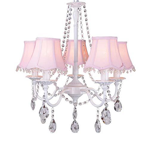Huioo Rosa Kristall Kronleuchter - Mädchen Prinzessin Zimmer Dekorative 5 Köpfe Kronleuchter Moderne Einfache Wohnzimmer Pastorale Lampe Kinderzimmer Schlafzimmer Beleuchtung E27
