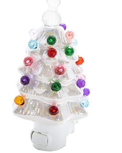 White Pearlized Ceramic Christmas Tree Night Light