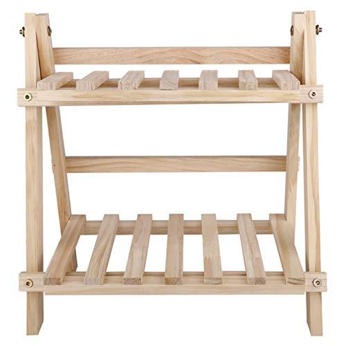 ELT Scaffale a scaletta per Organizer per vasi da Fiori in Legno a 2 Livelli per espositore da Balcone da Giardino Esterno da Interno 35 * 35 * 17 cm
