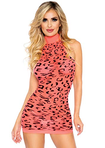 Leg Avenue Women's Neon Cheetah Racerback Dress, Coral, O/S
