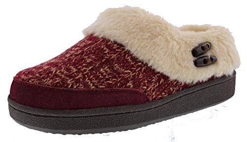 Clarks Women's Burgundy Knit Suede Faux Fur Slippers