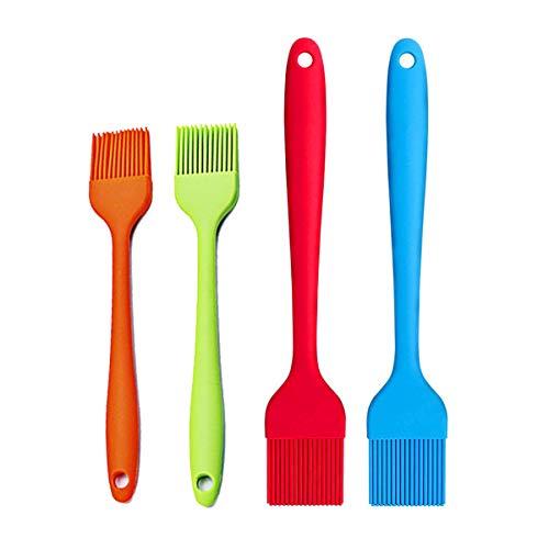 Cepillo de silicona para repostería, 4 piezas, resistente al calor, de silicona, flexible y fácil de limpiar para asar o marinar postres, hornear (4 colores)
