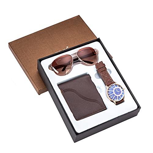 JJZXD Juego de Regalo Informal de Negocios de 3 unids/Set para Hombre, Exquisito Reloj, Gafas de Sol, cinturón de Cuero, Regalos para Hombres, Novio, papá, Regalo del Día del Padre
