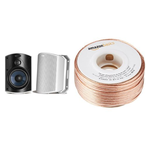 Polk Audio Atrium 4 Outdoor Speakers (Pair, White) with Amazon Basics 16-Gauge Speaker Wire