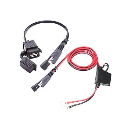 Meisijia SAE à antipoussière étanche Adaptateur USB Câble USB Chargeur Rapide 2.1A Port compatible avec Moto Mobile Tablet GPS