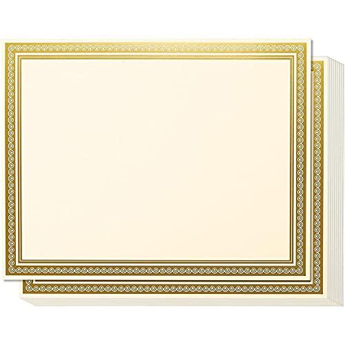 Certificados de premio – 50 hojas de papel liso en blanco – con borde metálico dorado – Compatible con impresoras láser y de inyección de tinta – 28 x 8.5 pulgadas