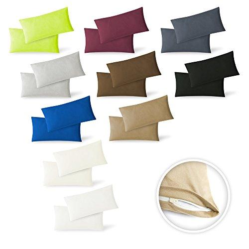 Exclusiv Heimtextil - Funda de almohada, paquete doble con cremallera, 40 x 60 cm, de jersey, Blanco, 40 x 60 cm