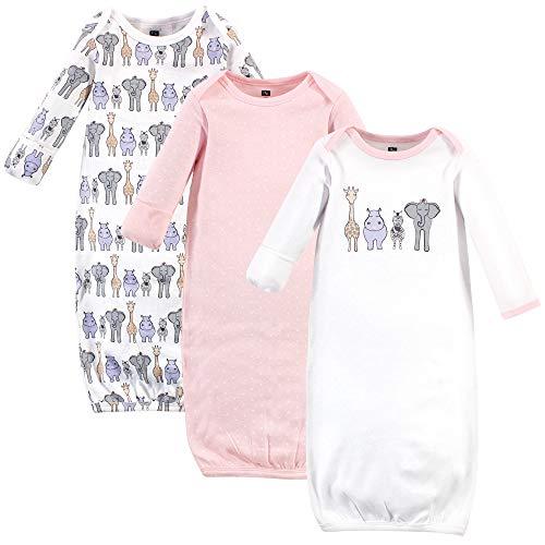 Hudson Baby Unisex Cotton Gowns, PINK SAFARI, 0-6 Months