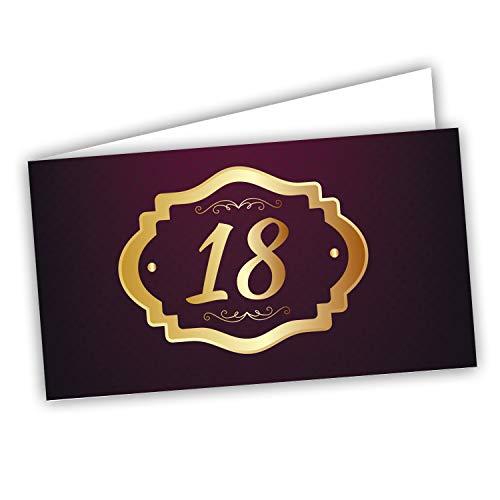 Kärtchen für Gastgeschenke zum 18. Geburtstag – Karten für Dragees und Geschenktüten 60 Stück vorgeschnitten – Druck innen mit Link und Testblatt